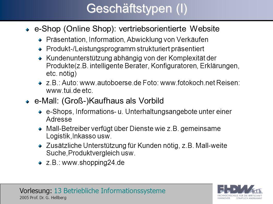 Vorlesung: 13 Betriebliche Informationssysteme 2005 Prof. Dr. G. Hellberg Geschäftstypen (I) e-Shop (Online Shop): vertriebsorientierte Website Präsen
