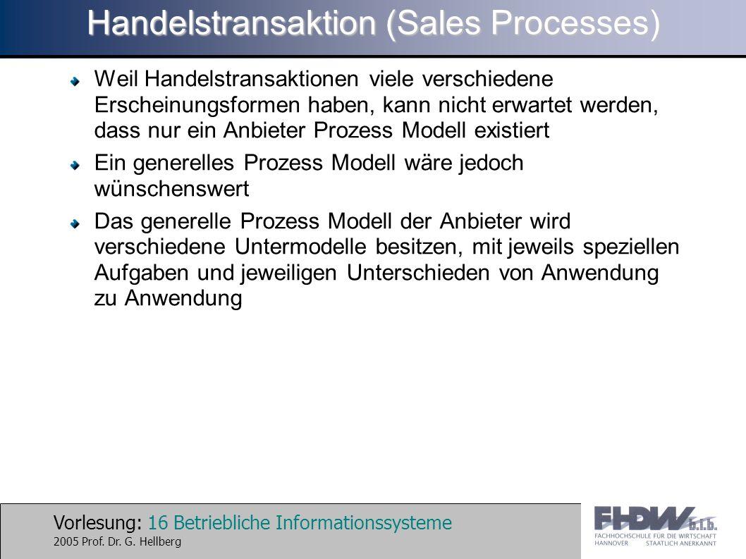 Vorlesung: 16 Betriebliche Informationssysteme 2005 Prof. Dr. G. Hellberg Handelstransaktion (Sales Processes) Weil Handelstransaktionen viele verschi