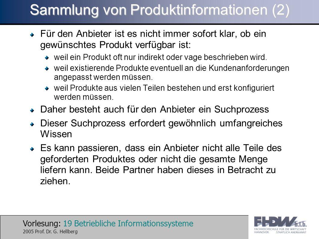 Vorlesung: 19 Betriebliche Informationssysteme 2005 Prof. Dr. G. Hellberg Sammlung von Produktinformationen (2) Für den Anbieter ist es nicht immer so