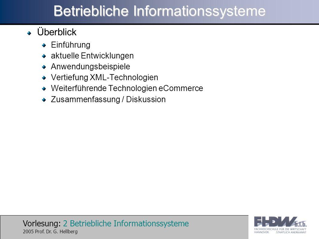 Vorlesung: 2 Betriebliche Informationssysteme 2005 Prof. Dr. G. Hellberg Betriebliche Informationssysteme Überblick Einführung aktuelle Entwicklungen