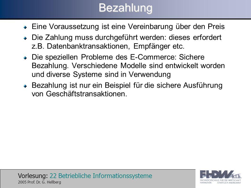Vorlesung: 22 Betriebliche Informationssysteme 2005 Prof. Dr. G. HellbergBezahlung Eine Voraussetzung ist eine Vereinbarung über den Preis Die Zahlung