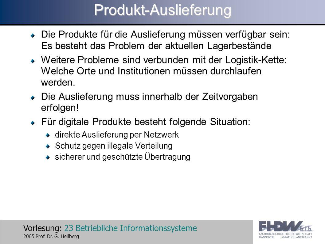 Vorlesung: 23 Betriebliche Informationssysteme 2005 Prof. Dr. G. HellbergProdukt-Auslieferung Die Produkte für die Auslieferung müssen verfügbar sein: