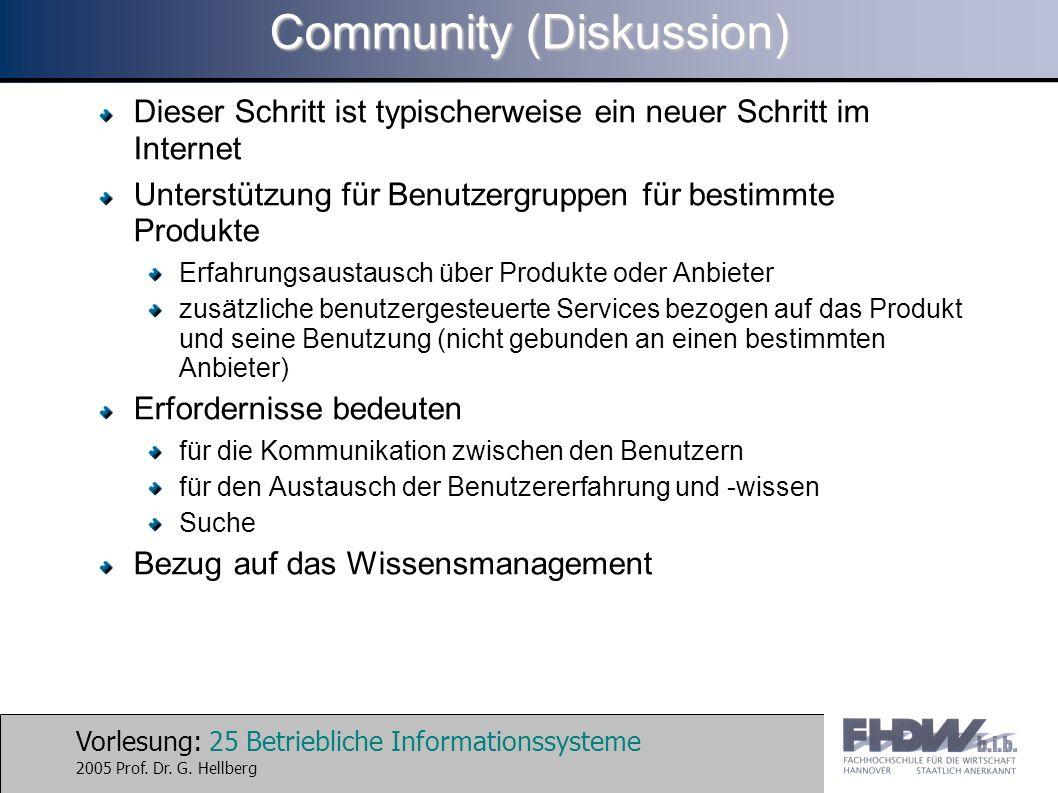 Vorlesung: 25 Betriebliche Informationssysteme 2005 Prof. Dr. G. Hellberg Community (Diskussion) Dieser Schritt ist typischerweise ein neuer Schritt i