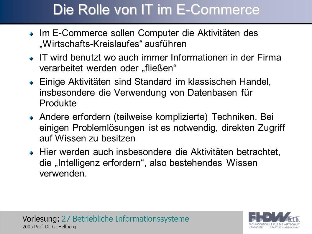 Vorlesung: 27 Betriebliche Informationssysteme 2005 Prof. Dr. G. Hellberg Die Rolle von IT im E-Commerce Im E-Commerce sollen Computer die Aktivitäten