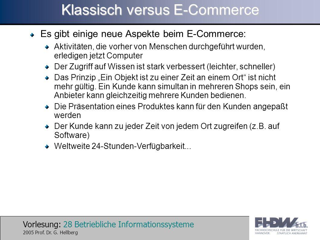 Vorlesung: 28 Betriebliche Informationssysteme 2005 Prof. Dr. G. Hellberg Klassisch versus E-Commerce Es gibt einige neue Aspekte beim E-Commerce: Akt