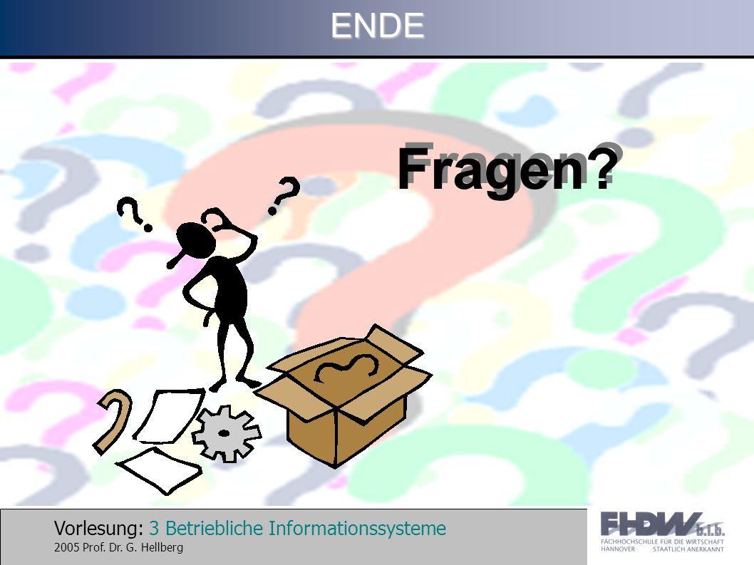 Vorlesung: 3 Betriebliche Informationssysteme 2005 Prof. Dr. G. HellbergENDE Fragen?
