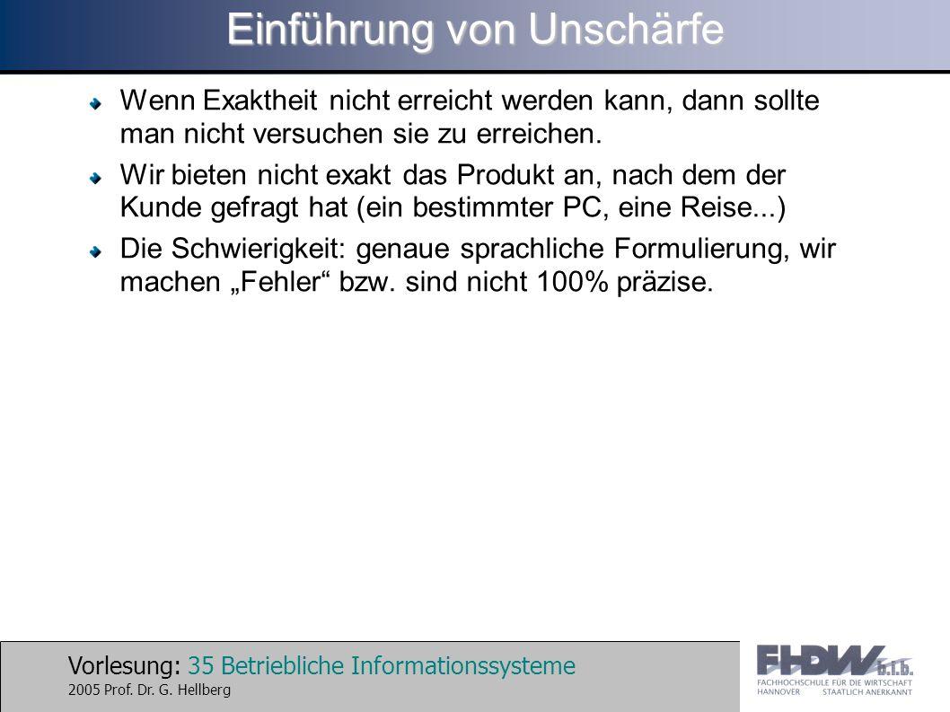 Vorlesung: 35 Betriebliche Informationssysteme 2005 Prof. Dr. G. Hellberg Einführung von Unschärfe Wenn Exaktheit nicht erreicht werden kann, dann sol