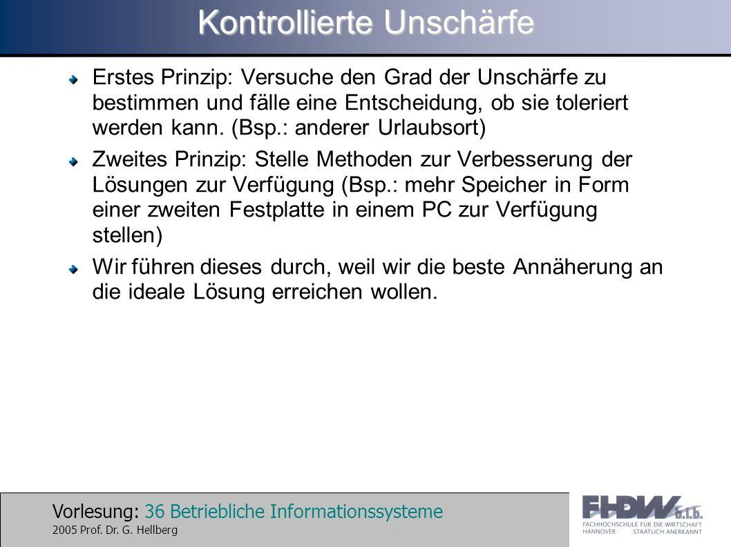 Vorlesung: 36 Betriebliche Informationssysteme 2005 Prof. Dr. G. Hellberg Kontrollierte Unschärfe Erstes Prinzip: Versuche den Grad der Unschärfe zu b