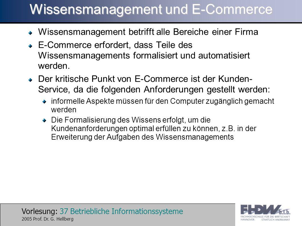 Vorlesung: 37 Betriebliche Informationssysteme 2005 Prof. Dr. G. Hellberg Wissensmanagement und E-Commerce Wissensmanagement betrifft alle Bereiche ei