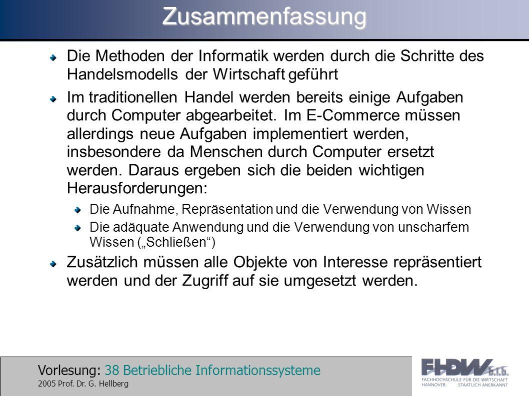 Vorlesung: 38 Betriebliche Informationssysteme 2005 Prof. Dr. G. HellbergZusammenfassung Die Methoden der Informatik werden durch die Schritte des Han