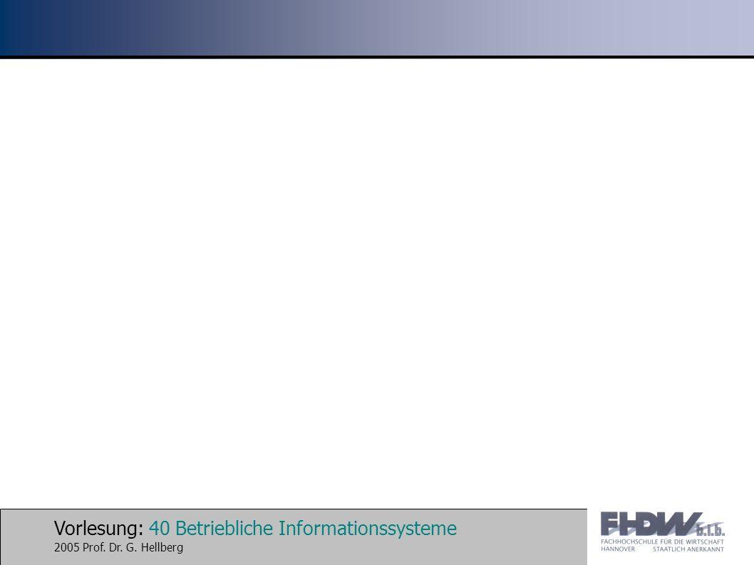 Vorlesung: 40 Betriebliche Informationssysteme 2005 Prof. Dr. G. Hellberg