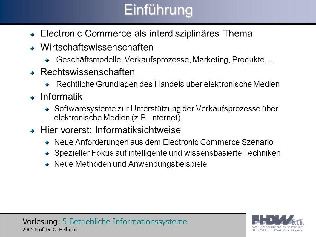 Vorlesung: 5 Betriebliche Informationssysteme 2005 Prof. Dr. G. HellbergEinführung Electronic Commerce als interdisziplinäres Thema Wirtschaftswissens