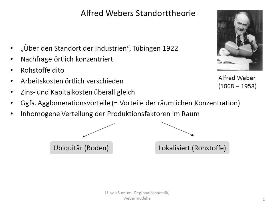 Alfred Webers Standorttheorie Über den Standort der Industrien, Tübingen 1922 Nachfrage örtlich konzentriert Rohstoffe dito Arbeitskosten örtlich vers