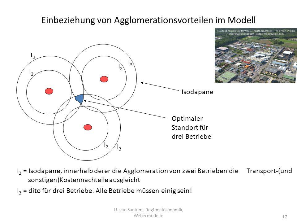 Einbeziehung von Agglomerationsvorteilen im Modell I 2 = Isodapane, innerhalb derer die Agglomeration von zwei Betrieben die Transport-(und sonstigen)