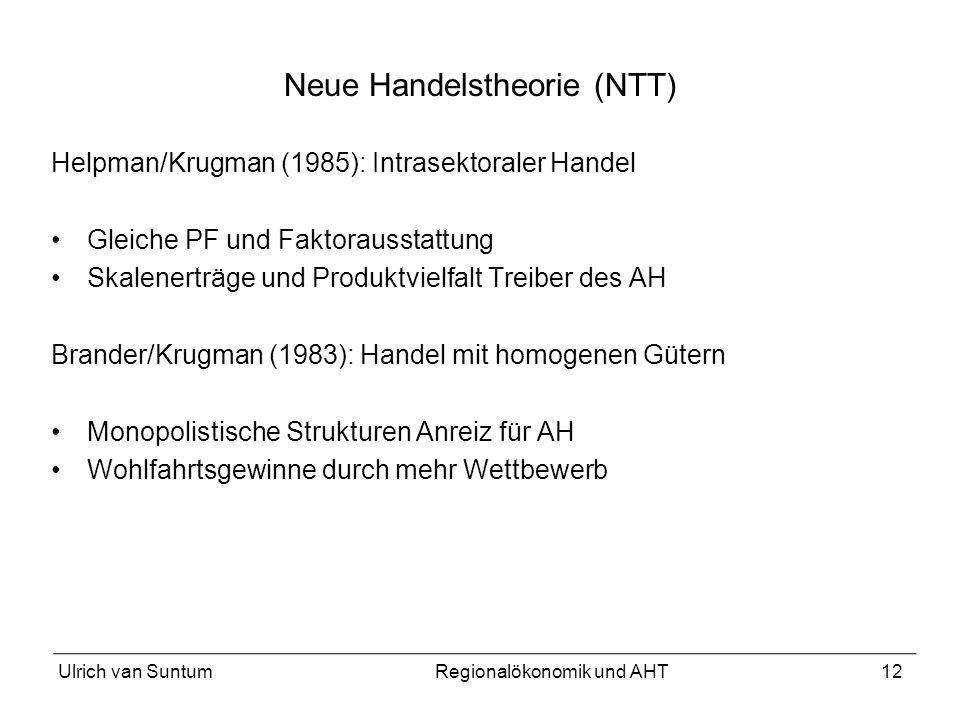 12 Neue Handelstheorie (NTT) Helpman/Krugman (1985): Intrasektoraler Handel Gleiche PF und Faktorausstattung Skalenerträge und Produktvielfalt Treiber