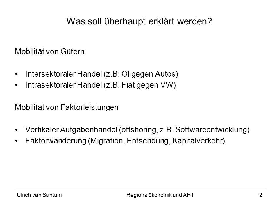 2 Was soll überhaupt erklärt werden? Mobilität von Gütern Intersektoraler Handel (z.B. Öl gegen Autos) Intrasektoraler Handel (z.B. Fiat gegen VW) Mob