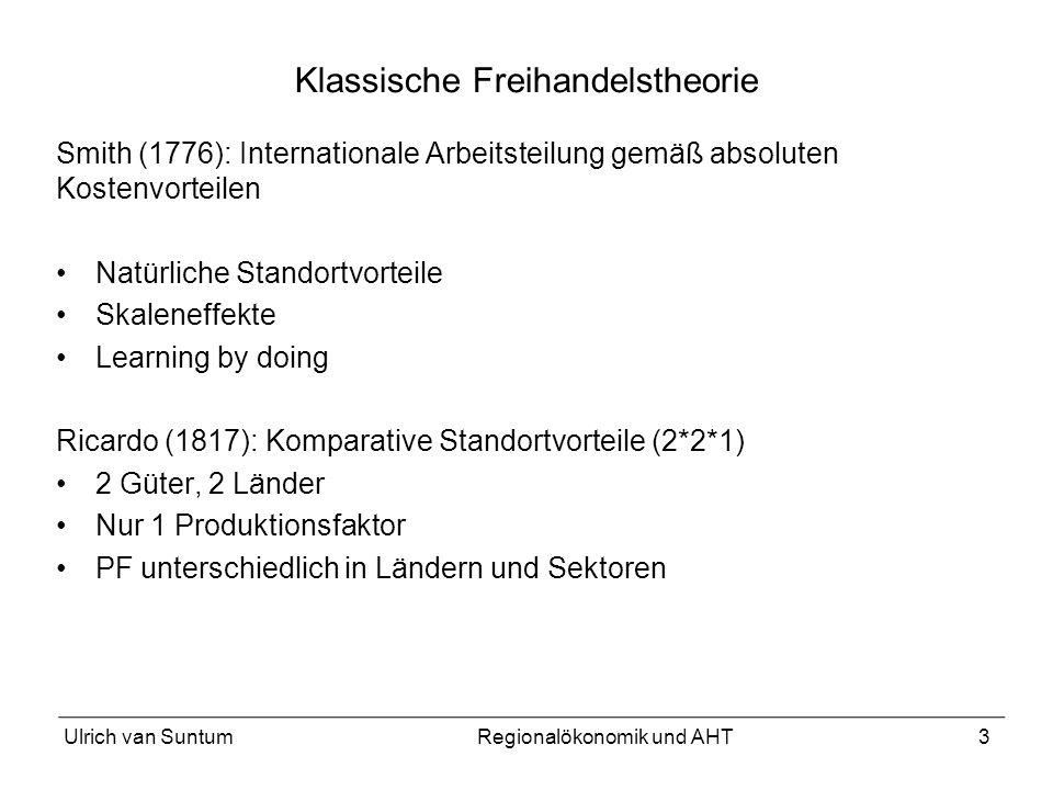3 Klassische Freihandelstheorie Smith (1776): Internationale Arbeitsteilung gemäß absoluten Kostenvorteilen Natürliche Standortvorteile Skaleneffekte