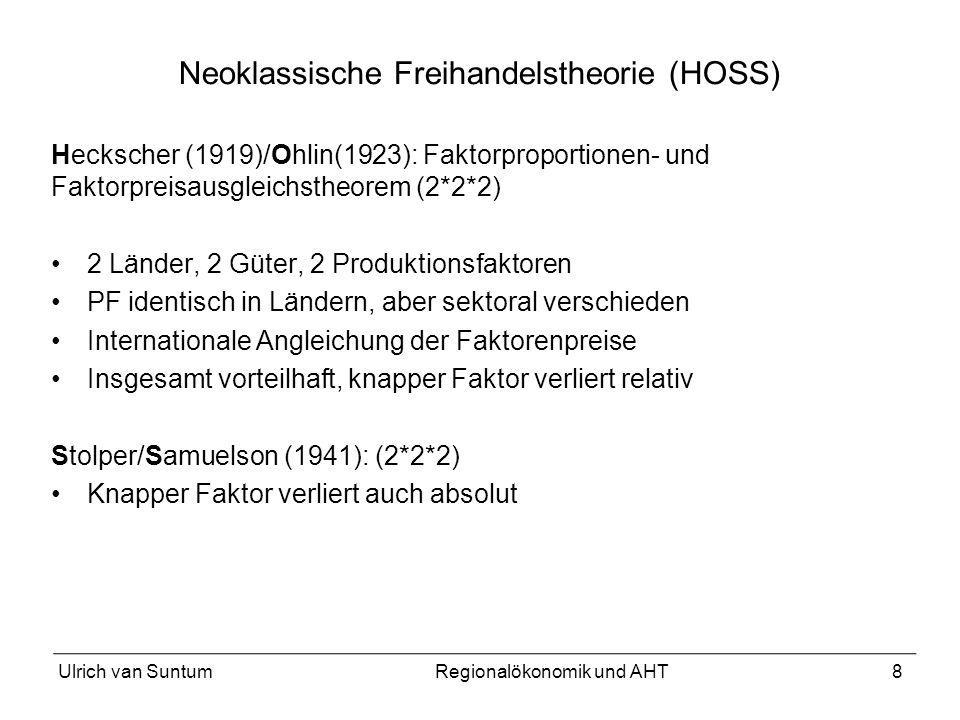 8 Neoklassische Freihandelstheorie (HOSS) Heckscher (1919)/Ohlin(1923): Faktorproportionen- und Faktorpreisausgleichstheorem (2*2*2) 2 Länder, 2 Güter