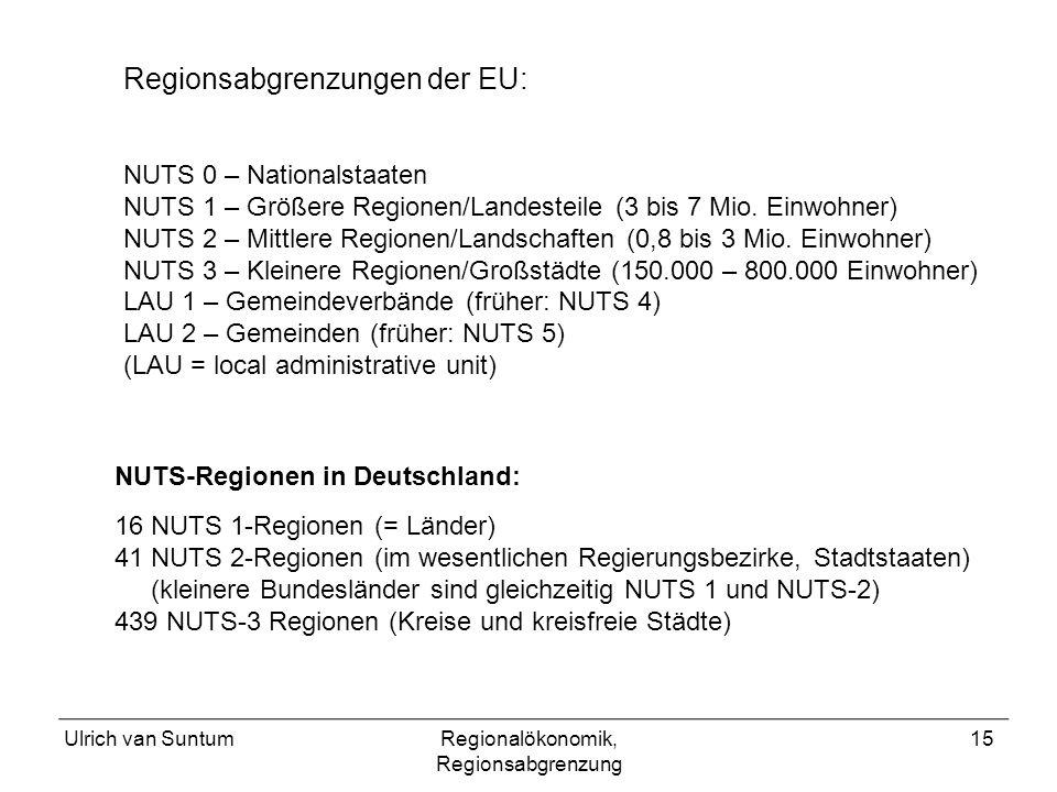Ulrich van SuntumRegionalökonomik, Regionsabgrenzung 15 NUTS 0 – Nationalstaaten NUTS 1 – Größere Regionen/Landesteile (3 bis 7 Mio.