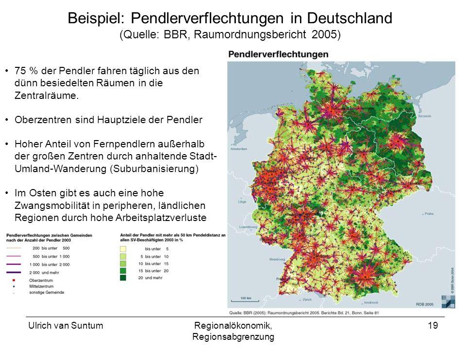 Ulrich van SuntumRegionalökonomik, Regionsabgrenzung 19 75 % der Pendler fahren täglich aus den dünn besiedelten Räumen in die Zentralräume. Oberzentr
