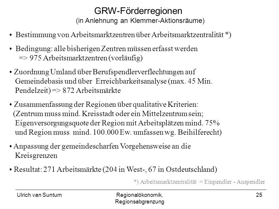 Ulrich van SuntumRegionalökonomik, Regionsabgrenzung 25 Bestimmung von Arbeitsmarktzentren über Arbeitsmarktzentralität *) Bedingung: alle bisherigen
