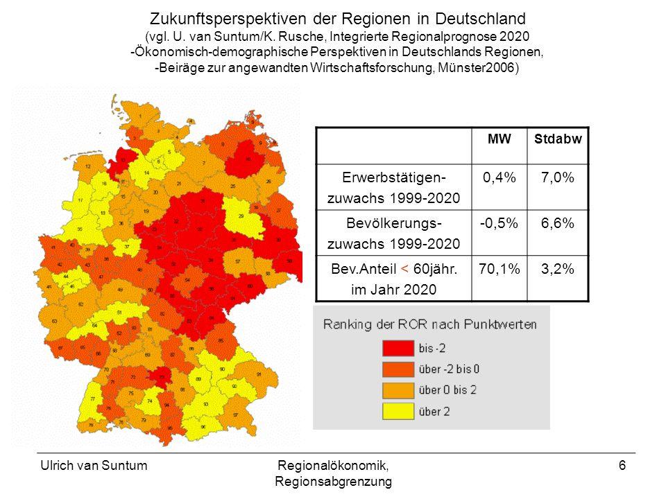 Ulrich van SuntumRegionalökonomik, Regionsabgrenzung 6 Zukunftsperspektiven der Regionen in Deutschland (vgl. U. van Suntum/K. Rusche, Integrierte Reg