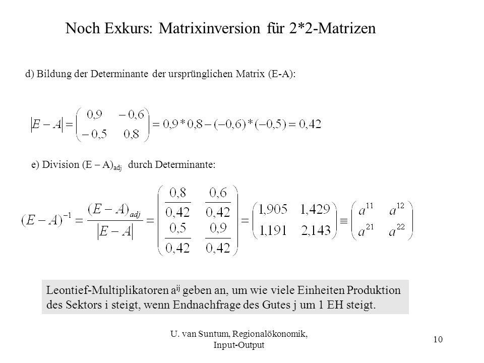 10 Noch Exkurs: Matrixinversion für 2*2-Matrizen d) Bildung der Determinante der ursprünglichen Matrix (E-A): e) Division (E – A) adj durch Determinan
