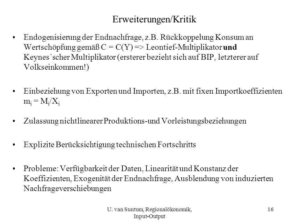 16 Erweiterungen/Kritik Endogenisierung der Endnachfrage, z.B. Rückkoppelung Konsum an Wertschöpfung gemäß C = C(Y) => Leontief-Multiplikator und Keyn