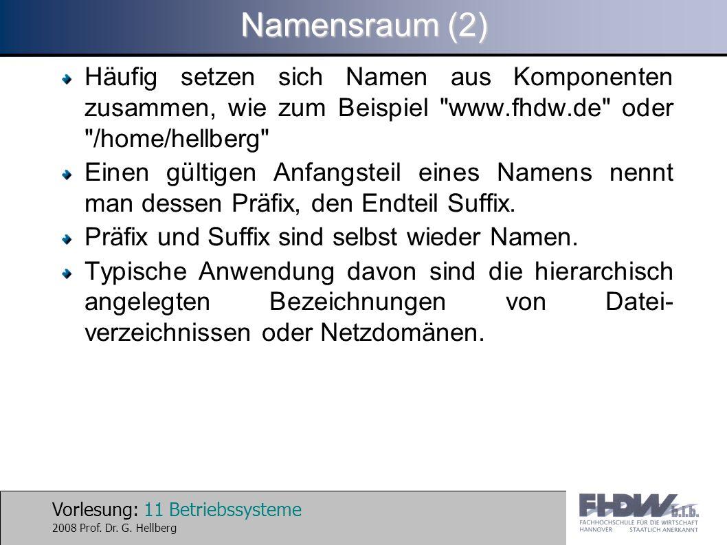 Vorlesung: 11 Betriebssysteme 2008 Prof. Dr. G. Hellberg Namensraum (2) Häufig setzen sich Namen aus Komponenten zusammen, wie zum Beispiel