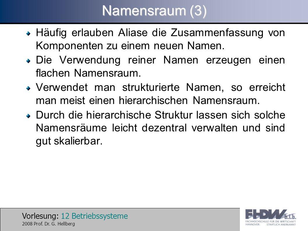 Vorlesung: 12 Betriebssysteme 2008 Prof. Dr. G. Hellberg Namensraum (3) Häufig erlauben Aliase die Zusammenfassung von Komponenten zu einem neuen Name