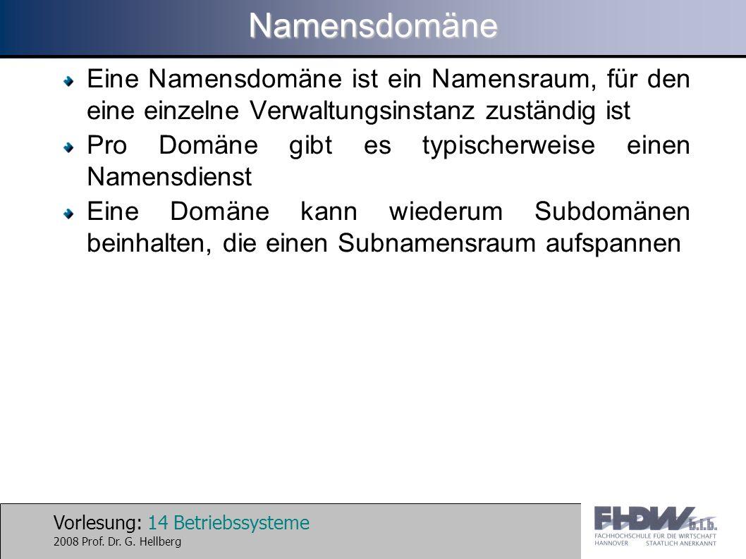 Vorlesung: 14 Betriebssysteme 2008 Prof. Dr. G. HellbergNamensdomäne Eine Namensdomäne ist ein Namensraum, für den eine einzelne Verwaltungsinstanz zu