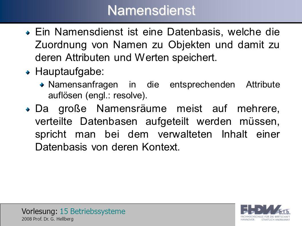 Vorlesung: 15 Betriebssysteme 2008 Prof. Dr. G. HellbergNamensdienst Ein Namensdienst ist eine Datenbasis, welche die Zuordnung von Namen zu Objekten