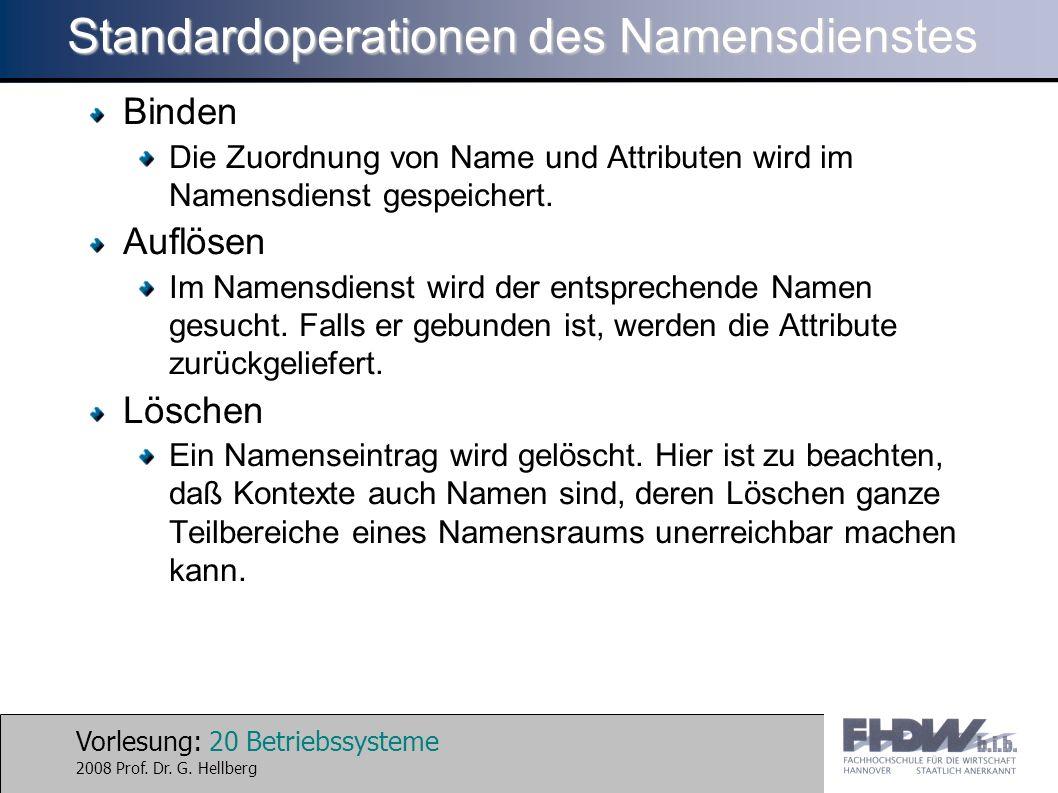 Vorlesung: 20 Betriebssysteme 2008 Prof. Dr. G. Hellberg Standardoperationen des Namensdienstes Binden Die Zuordnung von Name und Attributen wird im N