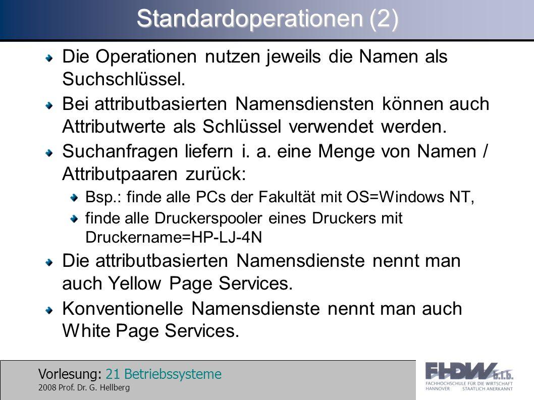 Vorlesung: 21 Betriebssysteme 2008 Prof. Dr. G. Hellberg Standardoperationen (2) Die Operationen nutzen jeweils die Namen als Suchschlüssel. Bei attri