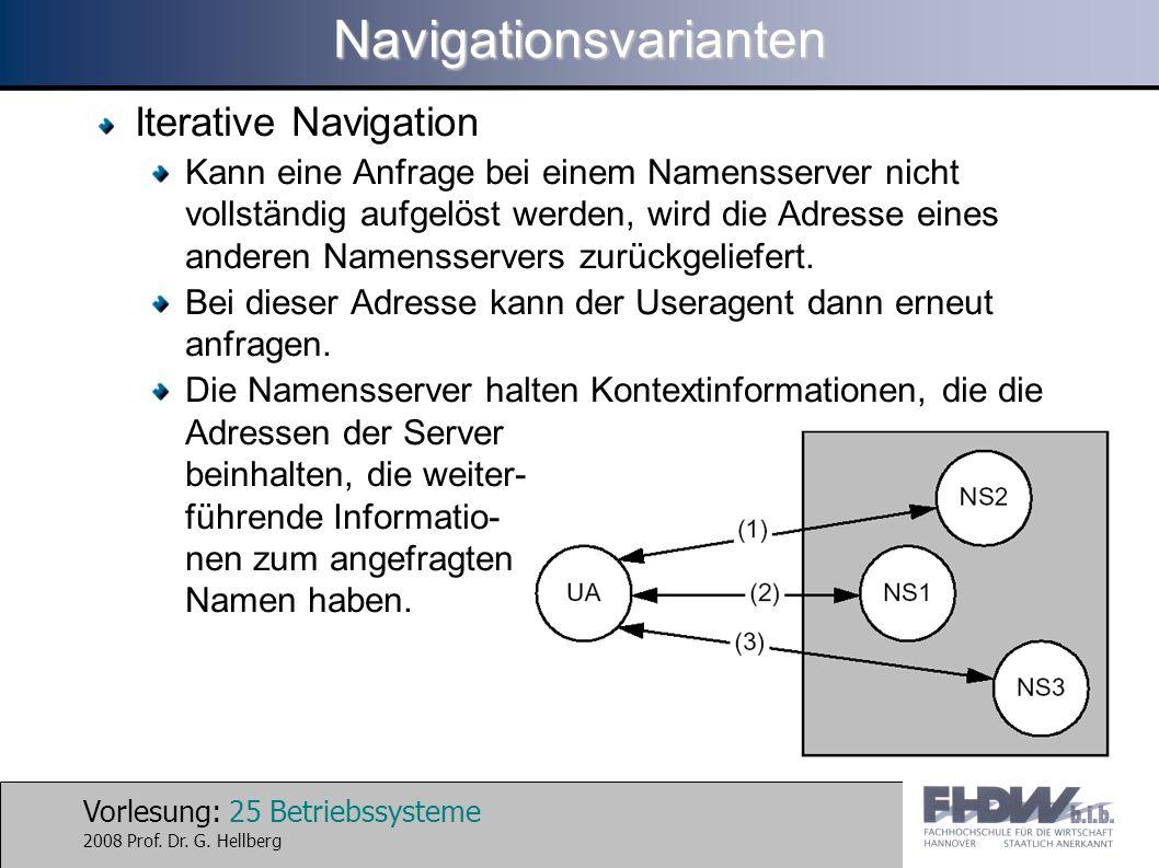 Vorlesung: 25 Betriebssysteme 2008 Prof. Dr. G. HellbergNavigationsvarianten Iterative Navigation Kann eine Anfrage bei einem Namensserver nicht volls