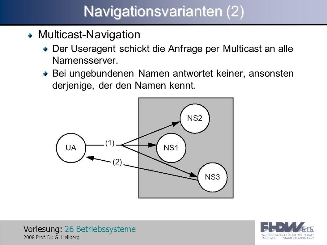 Vorlesung: 26 Betriebssysteme 2008 Prof. Dr. G. Hellberg Navigationsvarianten (2) Multicast-Navigation Der Useragent schickt die Anfrage per Multicast