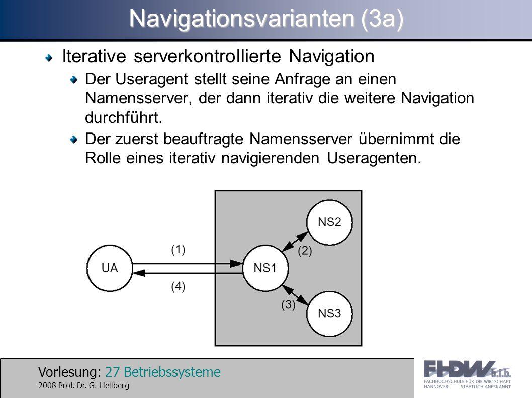 Vorlesung: 27 Betriebssysteme 2008 Prof. Dr. G. Hellberg Navigationsvarianten (3a) Iterative serverkontrollierte Navigation Der Useragent stellt seine