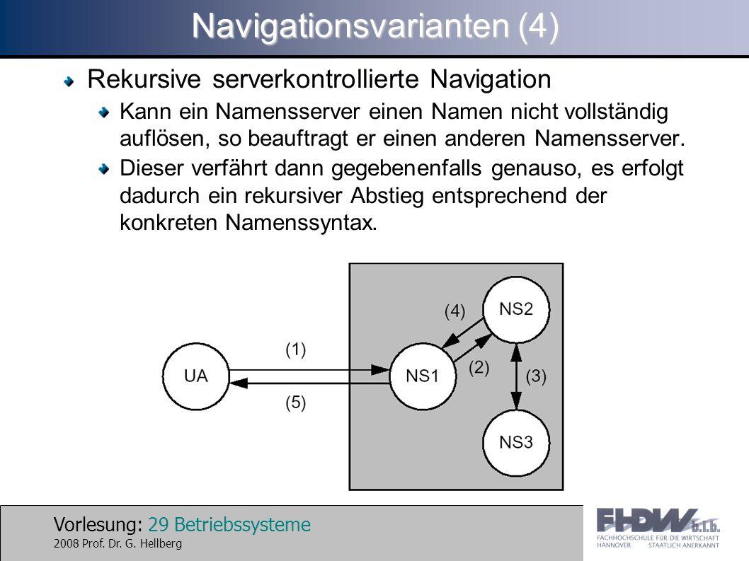 Vorlesung: 29 Betriebssysteme 2008 Prof. Dr. G. Hellberg Navigationsvarianten (4) Rekursive serverkontrollierte Navigation Kann ein Namensserver einen