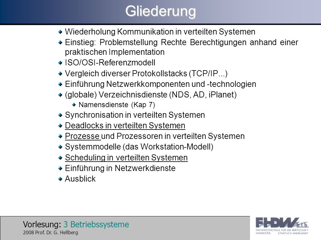 Vorlesung: 3 Betriebssysteme 2008 Prof. Dr. G. HellbergGliederung Wiederholung Kommunikation in verteilten Systemen Einstieg: Problemstellung Rechte B