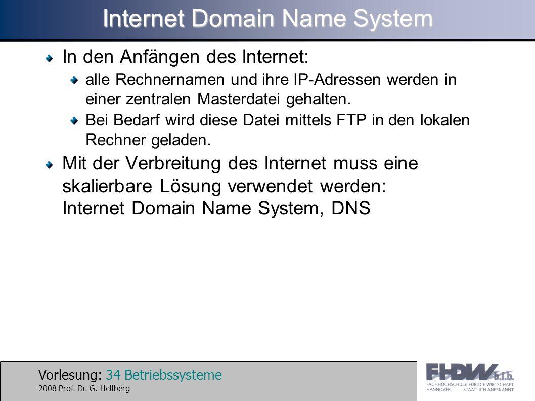 Vorlesung: 34 Betriebssysteme 2008 Prof. Dr. G. Hellberg Internet Domain Name System In den Anfängen des Internet: alle Rechnernamen und ihre IP-Adres