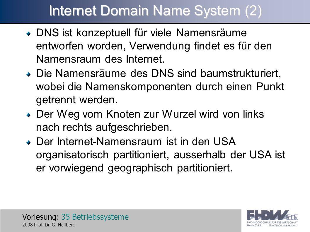 Vorlesung: 35 Betriebssysteme 2008 Prof. Dr. G. Hellberg Internet Domain Name System (2) DNS ist konzeptuell für viele Namensräume entworfen worden, V
