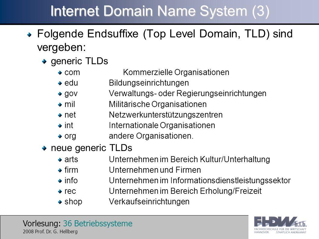 Vorlesung: 36 Betriebssysteme 2008 Prof. Dr. G. Hellberg Internet Domain Name System (3) Folgende Endsuffixe (Top Level Domain, TLD) sind vergeben: ge