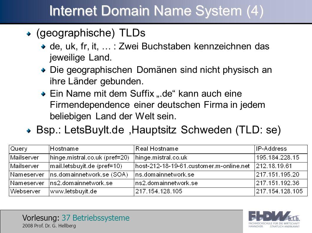 Vorlesung: 37 Betriebssysteme 2008 Prof. Dr. G. Hellberg Internet Domain Name System (4) (geographische) TLDs de, uk, fr, it, … : Zwei Buchstaben kenn