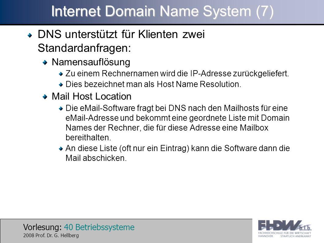 Vorlesung: 40 Betriebssysteme 2008 Prof. Dr. G. Hellberg Internet Domain Name System (7) DNS unterstützt für Klienten zwei Standardanfragen: Namensauf