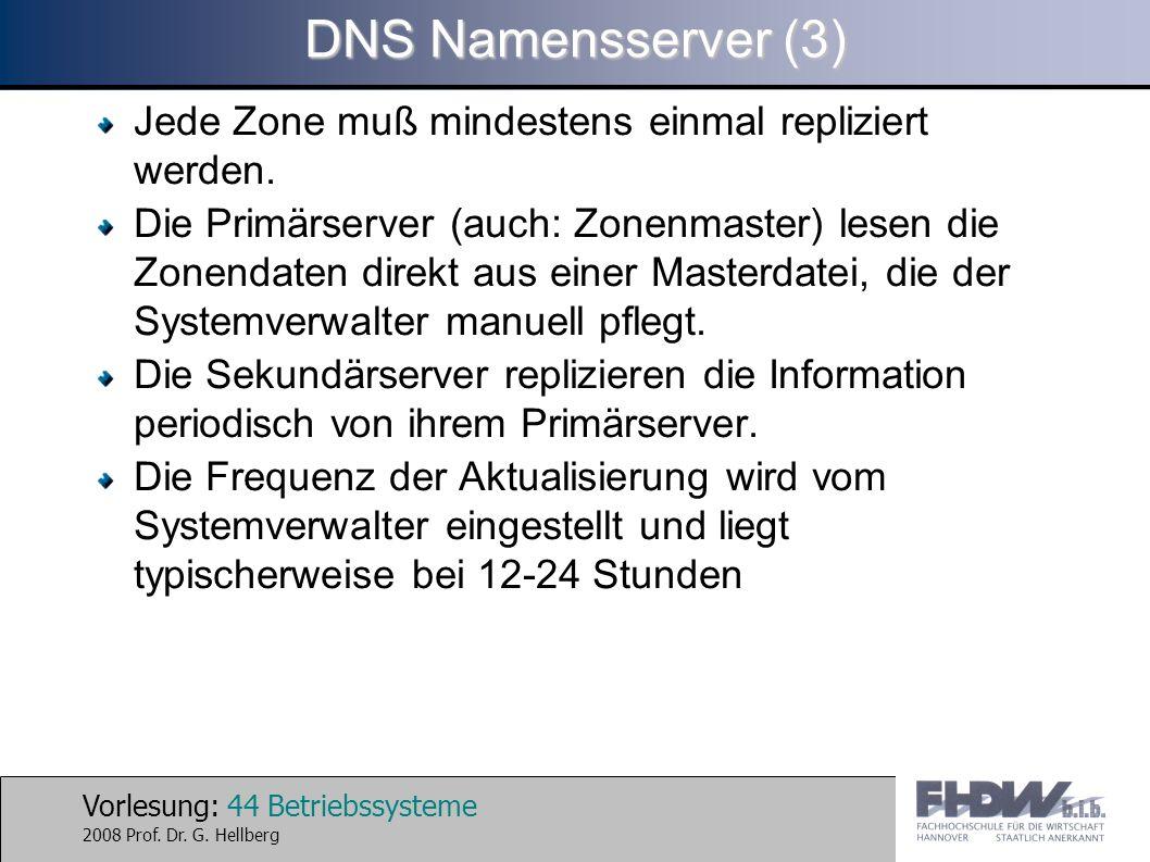 Vorlesung: 44 Betriebssysteme 2008 Prof. Dr. G. Hellberg DNS Namensserver (3) Jede Zone muß mindestens einmal repliziert werden. Die Primärserver (auc