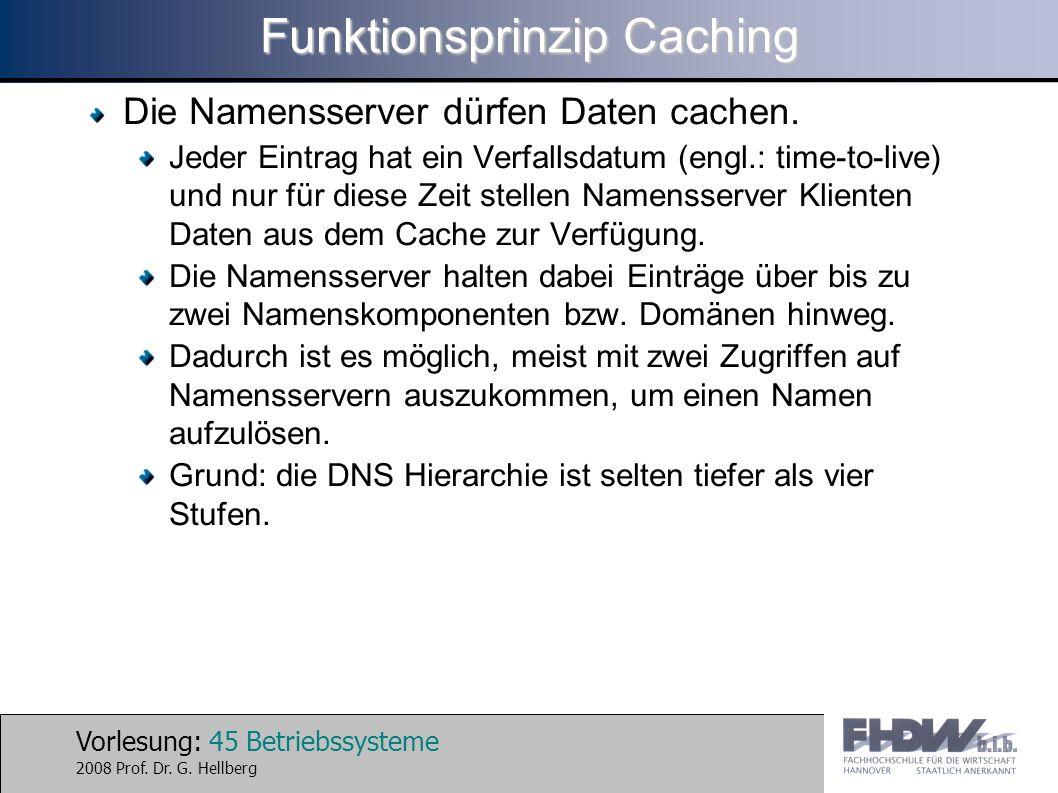 Vorlesung: 45 Betriebssysteme 2008 Prof. Dr. G. Hellberg Funktionsprinzip Caching Die Namensserver dürfen Daten cachen. Jeder Eintrag hat ein Verfalls