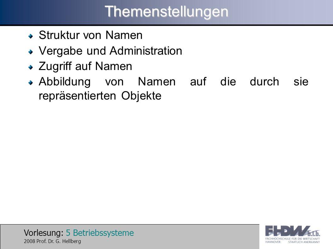 Vorlesung: 5 Betriebssysteme 2008 Prof. Dr. G. HellbergThemenstellungen Struktur von Namen Vergabe und Administration Zugriff auf Namen Abbildung von