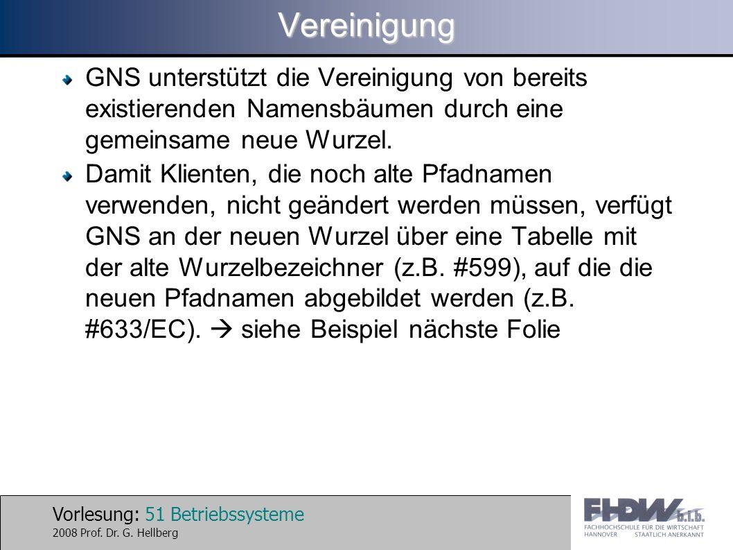 Vorlesung: 51 Betriebssysteme 2008 Prof. Dr. G. HellbergVereinigung GNS unterstützt die Vereinigung von bereits existierenden Namensbäumen durch eine