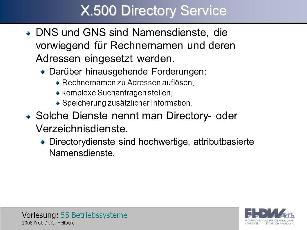 Vorlesung: 55 Betriebssysteme 2008 Prof. Dr. G. Hellberg X.500 Directory Service DNS und GNS sind Namensdienste, die vorwiegend für Rechnernamen und d
