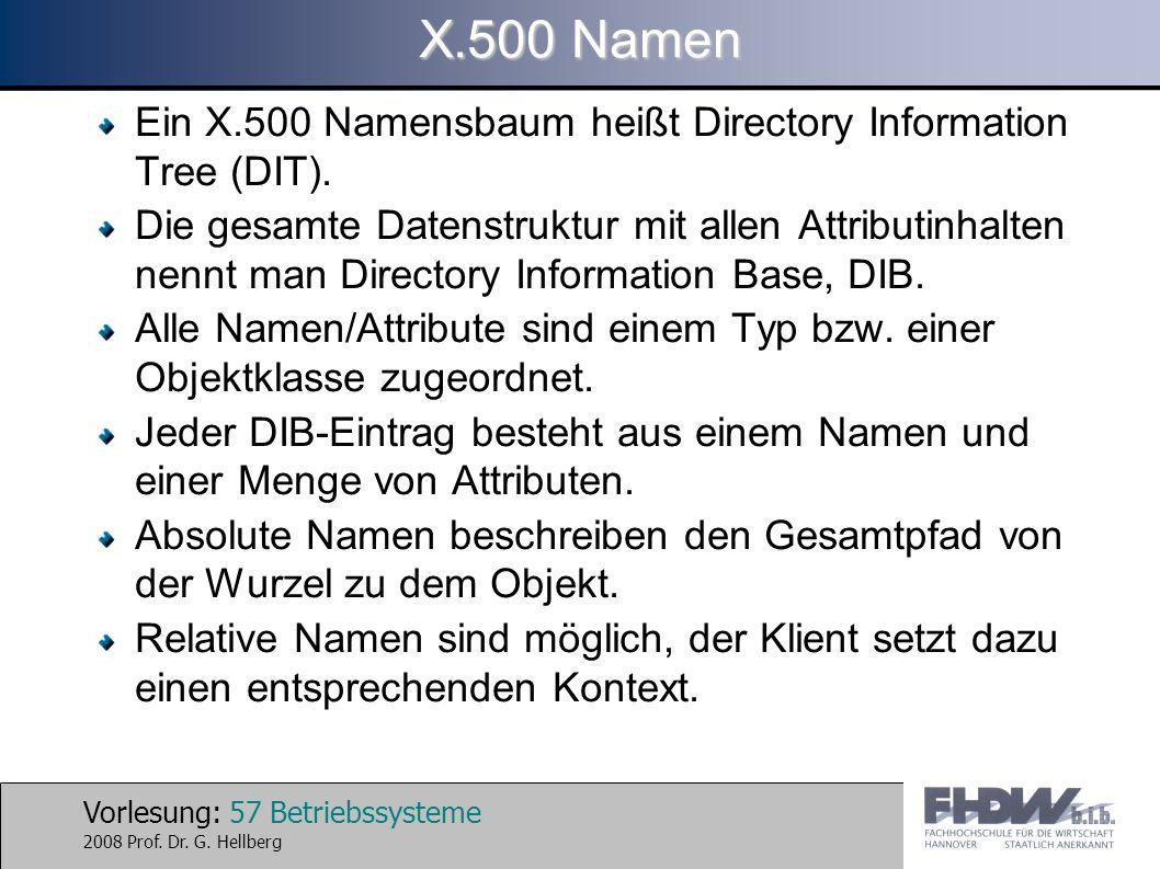 Vorlesung: 57 Betriebssysteme 2008 Prof. Dr. G. Hellberg X.500 Namen Ein X.500 Namensbaum heißt Directory Information Tree (DIT). Die gesamte Datenstr